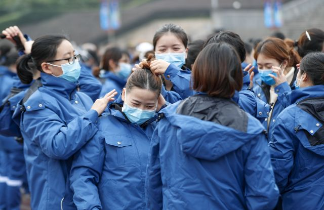 A medical team from Chongqing preparing to leave for Hubei Province, where the coronavirus outbreak started.