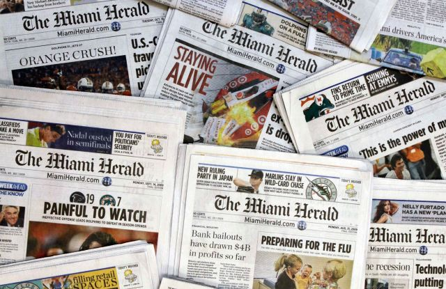 5. Copies of the McClatchy Co. owned Miami Herald newspaper are shown in Miami. The publisher of the Miami Herald, The Kansas City Star and dozens of other newspapers across the country has filed for bankruptcy protection, . McClatchy Co.'s 30 newsrooms will continue to operate as usual as the publisher reorganizes under Chapter 11 bankruptcy protectionMcClatchy Bankruptcy, Miami, USA - 14 Oct 2009