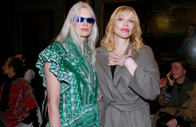 Kristen McMenamy and Courtney Love front row at Erdem RTW Fall 2020 show