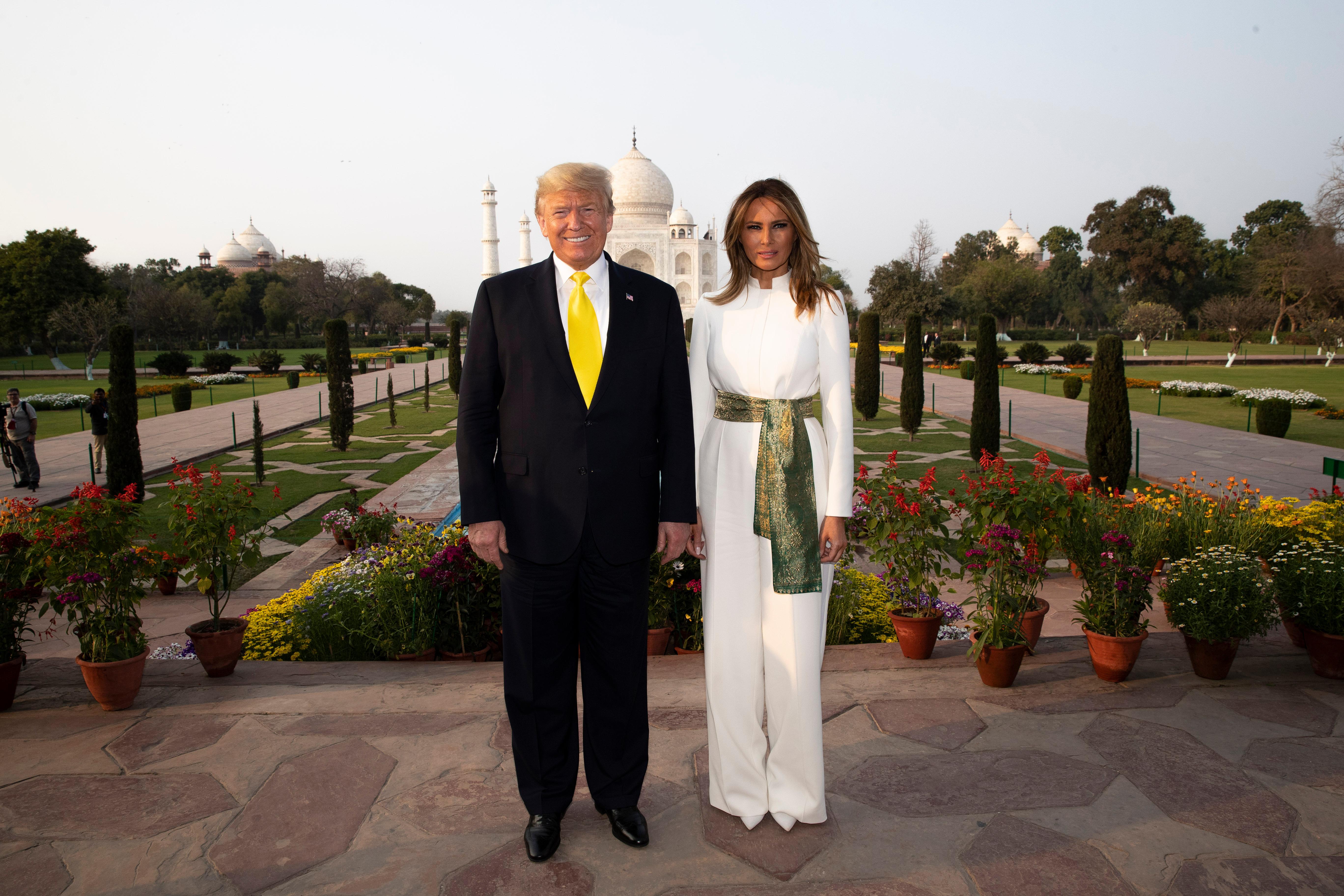 Donald Trump, Melania Trump. President Donald Trump, with first lady Melania Trump, pause as they tour the Taj Mahal, in Agra, IndiaNamaste Trump, Agra, India - 24 Feb 2020