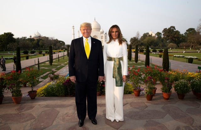 Donald Trump, Melania Trump. President Donald Trump, with first lady Melania Trump, pause as they tour the Taj Mahal, in Agra, IndiaNamaste Trump, Agra, India - 24 Feb 2020