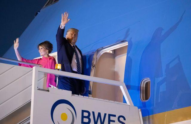 Donald Trump, Melania Trump. U.S.President Donald Trump, and first lady Melania Trump, wave as board Air Force One upon departure from at Indian Air Force Palam airport, in New Delhi, IndiaUS Trump, New Delhi, India - 25 Feb 2020