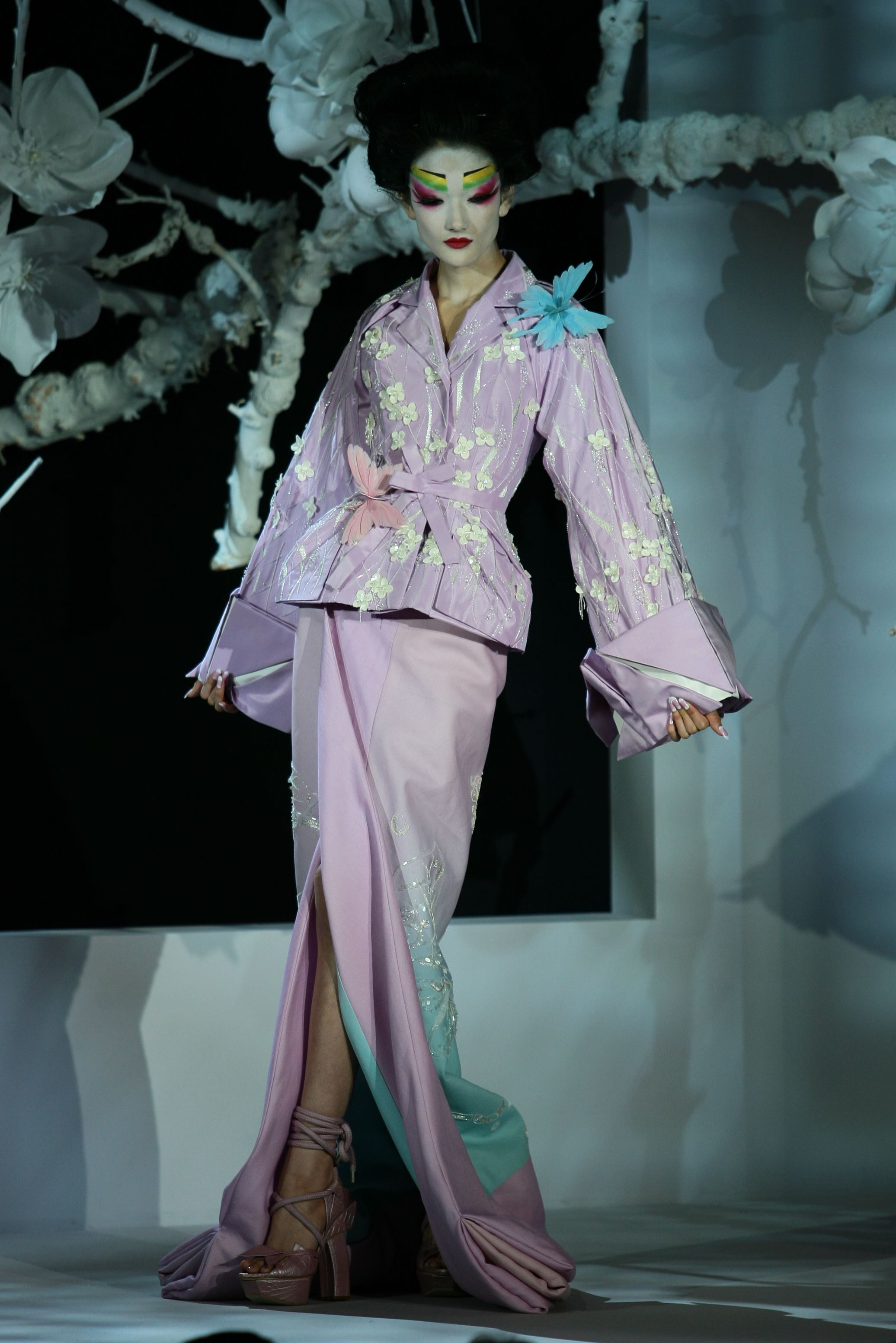 Ai Tominaga on the runway at Dior's spring 2007 haute couture show at the Polo de Paris. Christian Dior Spring 2007, Paris