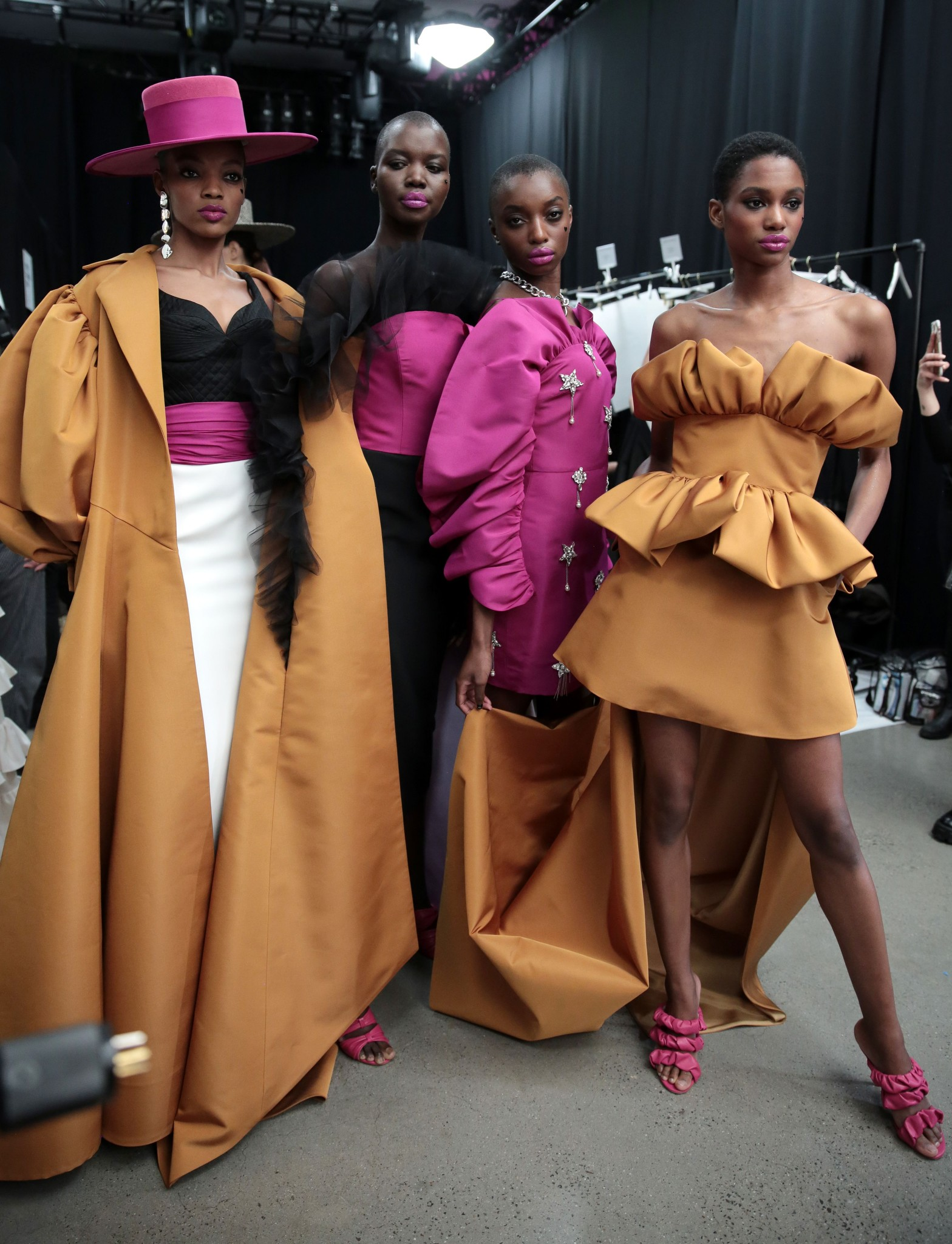 Backstage at Christian Siriano RTW Fall 2020.