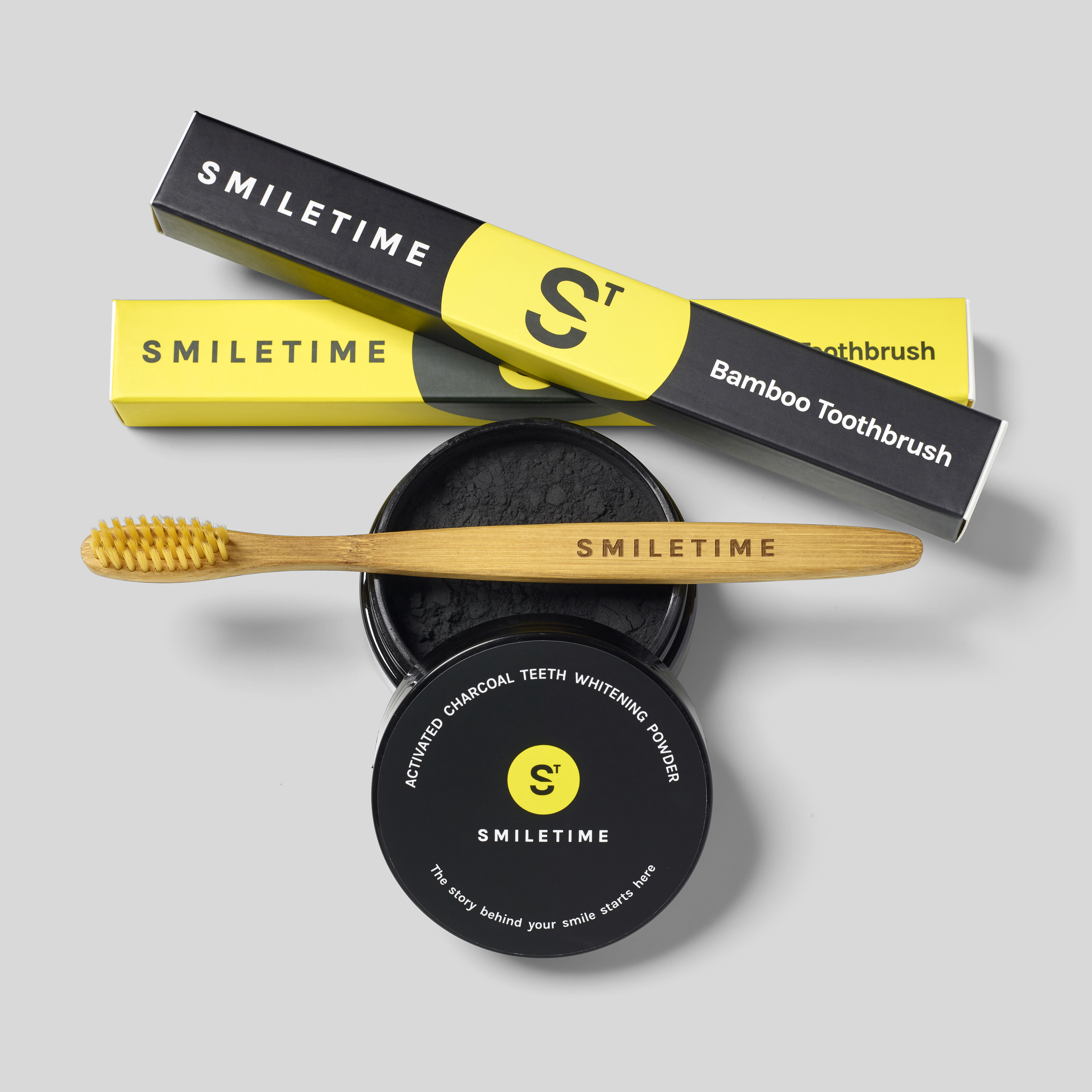 SmileTime bamboo toothbrush and charcoal powder