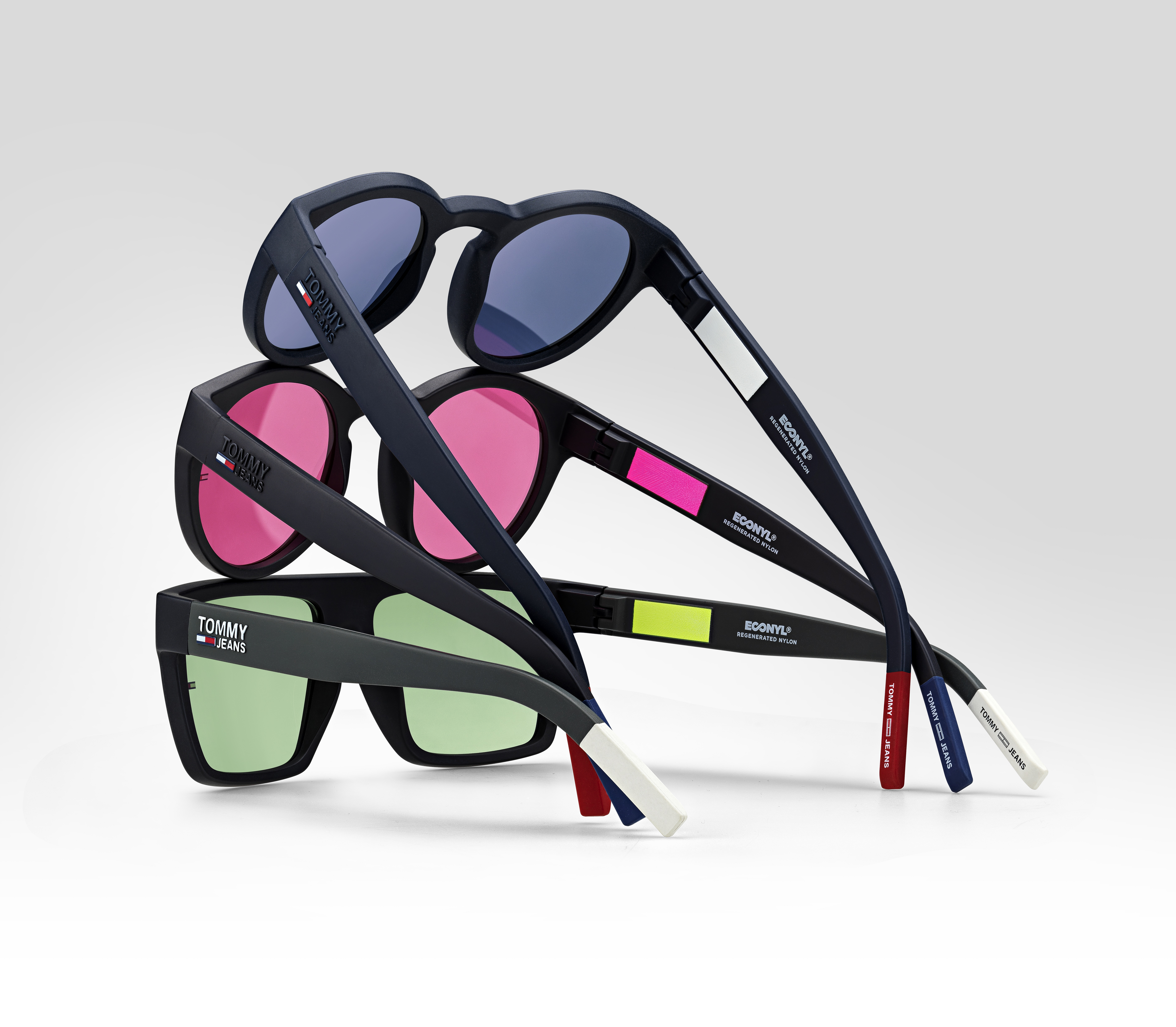 The Tommy Jeans eyewear collectiom manufactured by Safilo Group employing Aquafil's Econyl.