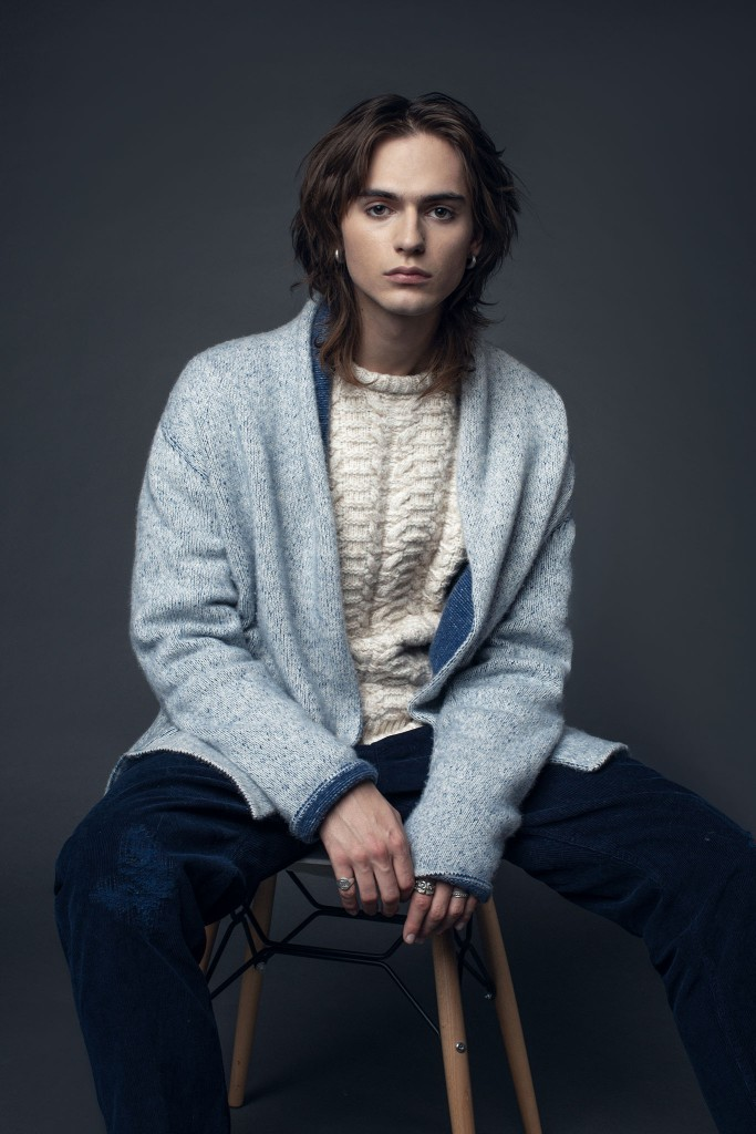 Harden's cardigan and sweater, worn with Whitesand's pants.