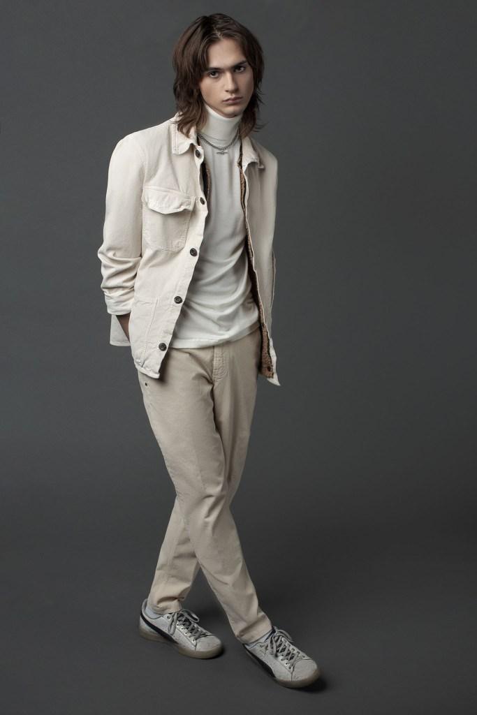Whitesand's jacket and pants worn with Crossley's turtleneck.