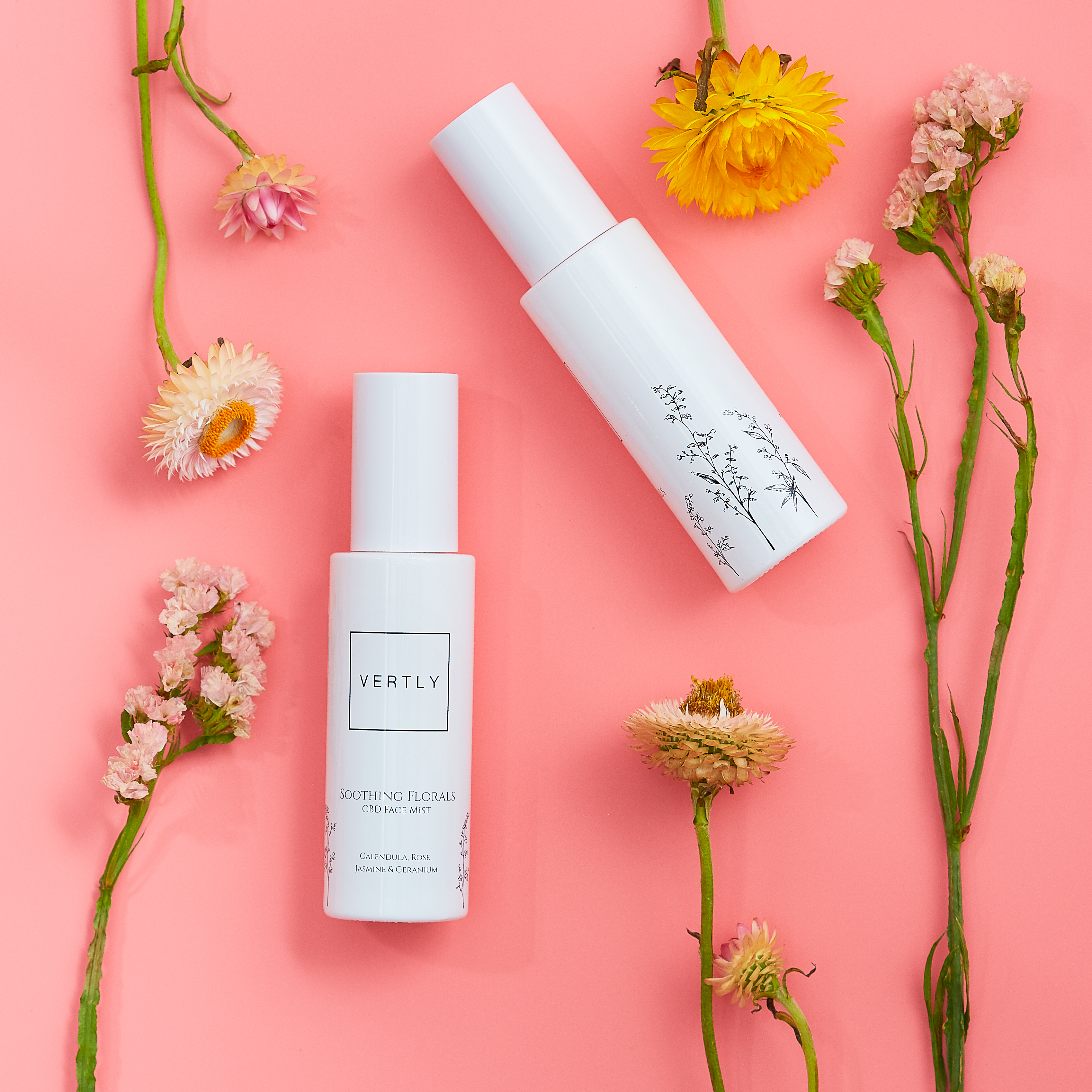Vertly's Soothing Florals CBD Face Mist.