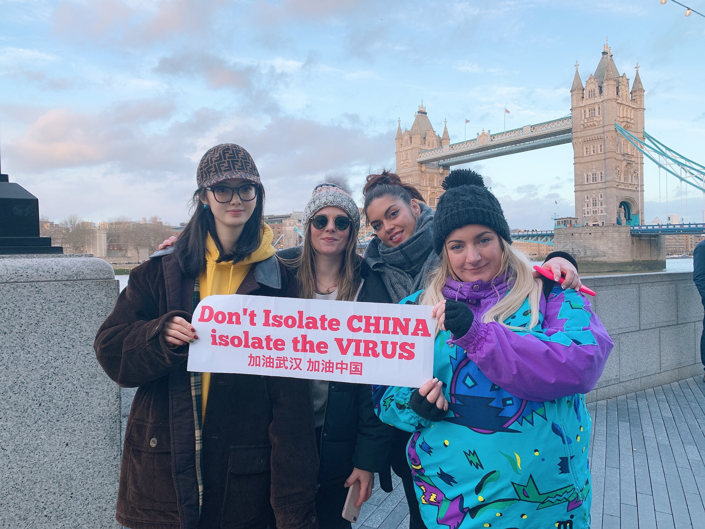 """Wang brought her social campaign """"Don't isolate China, isolate the virus"""" to London during her trip to London Fashion Week."""
