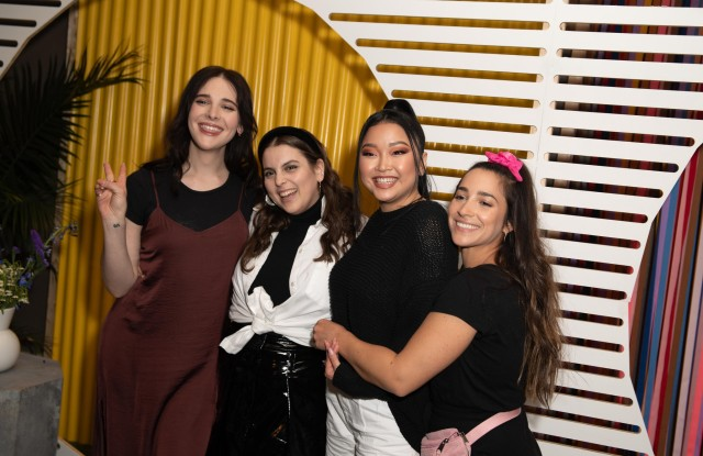 AerieReal role models, from left, Hari Nef, Beanie Feldstein, Lana Condor and Aly Raisman, at the AerieReal Summit in New York.