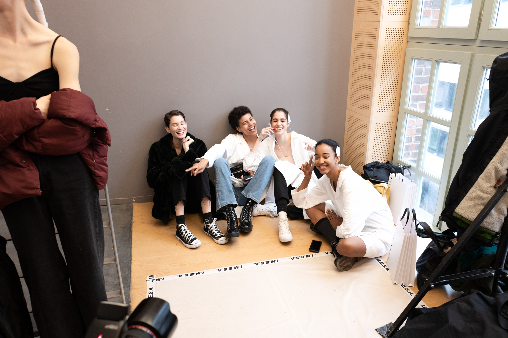 Backstage at Issey Miyake RTW Fall 2020