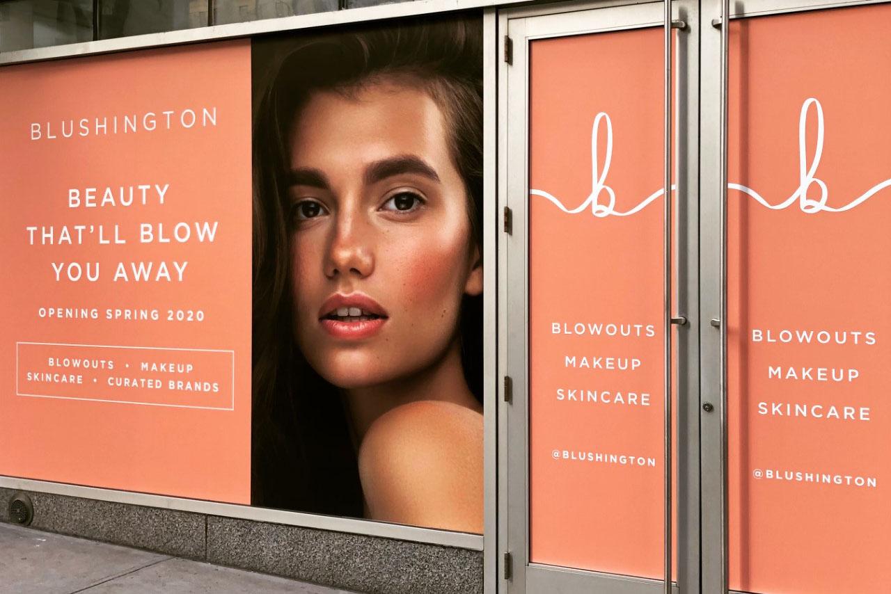 The Blushington storefront at Columbus Circle, New York.