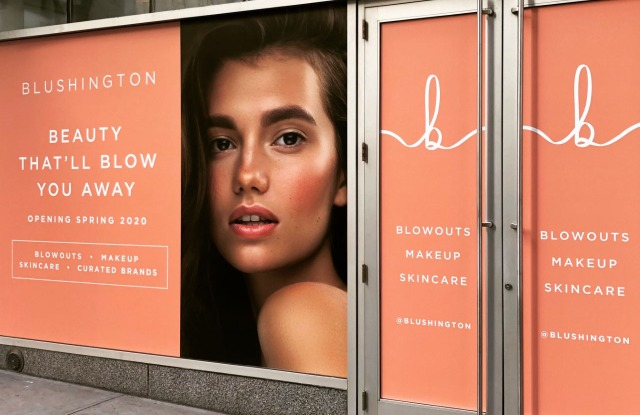 The Blushington storefront at Columbus Circle, New York.