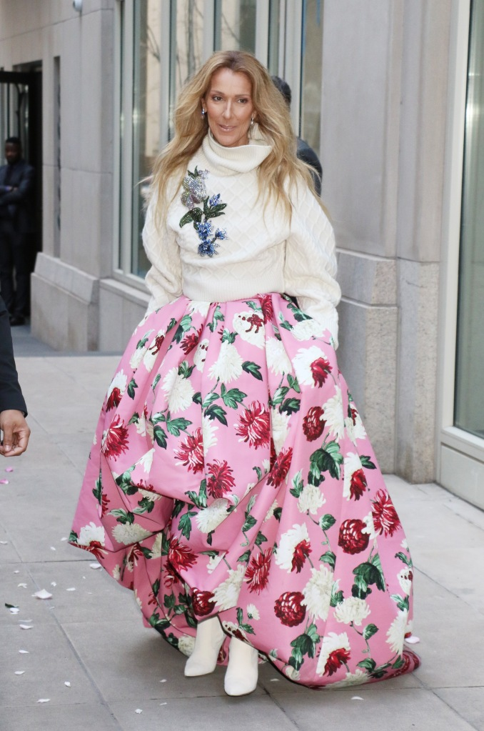 Celine DionCeline Dion out and about, New York, USA - 08 Mar 2020Wearing Oscar De La Renta Same Outfit as catwalk model *10552654bk