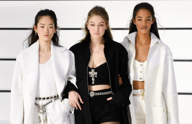 Gigi Hadid and models on the catwalk
