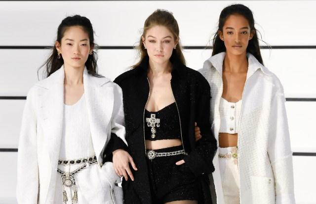 Gigi Hadid and models on the catwalk