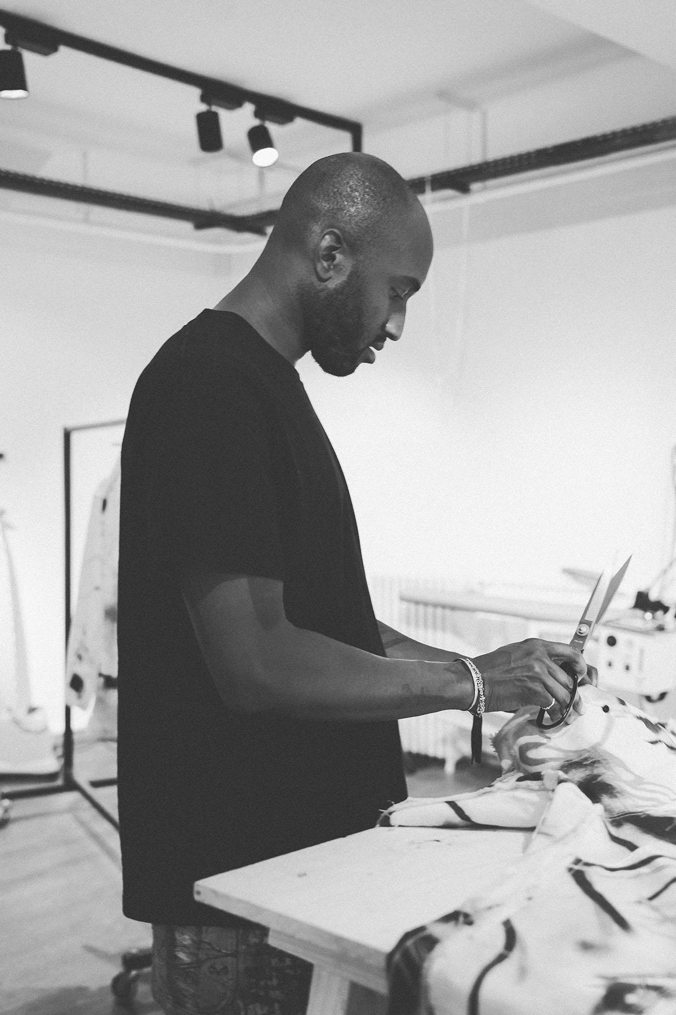 Virgil Abloh working in his studio.