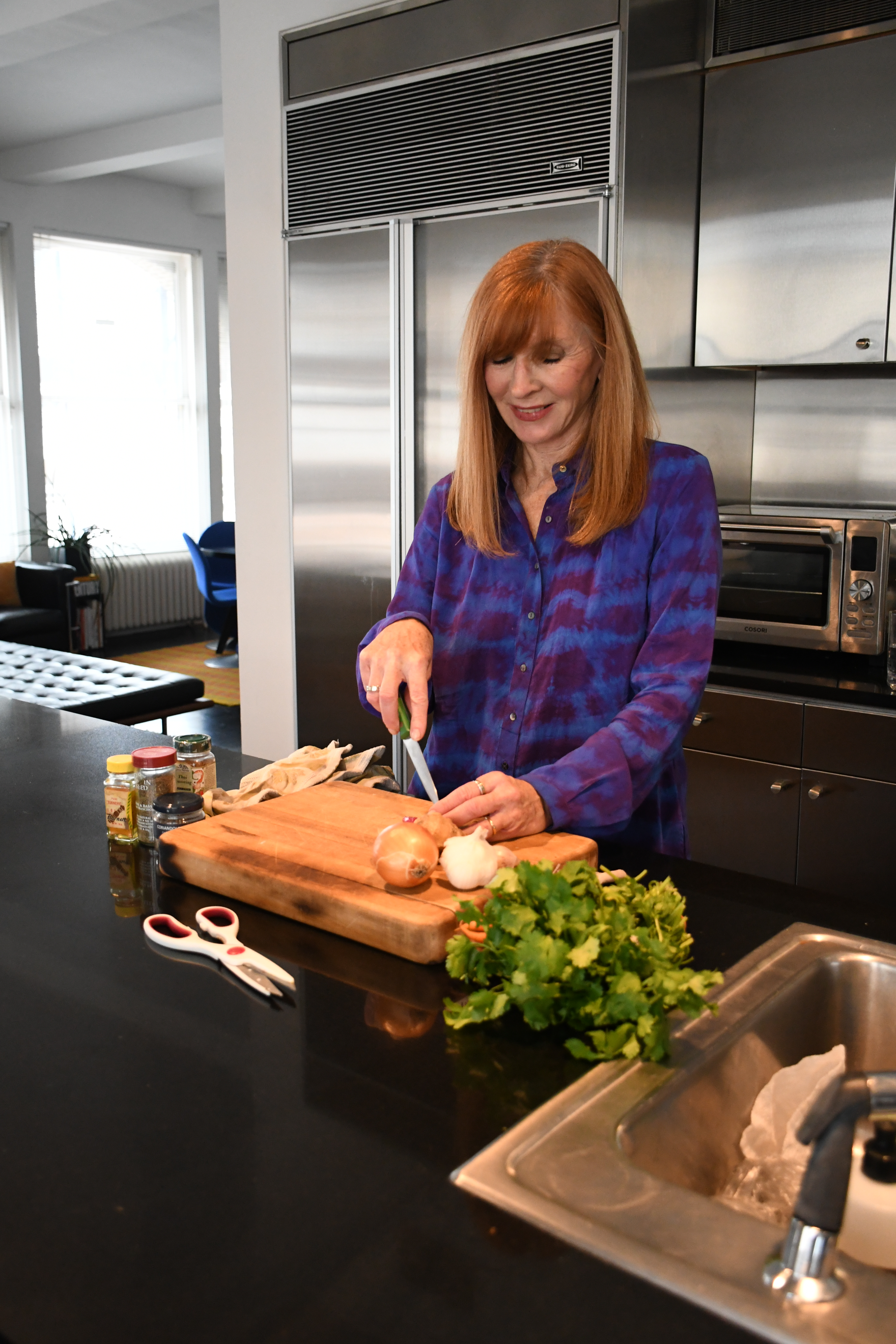 Nicole Miller is experimenting in the kitchen at home.