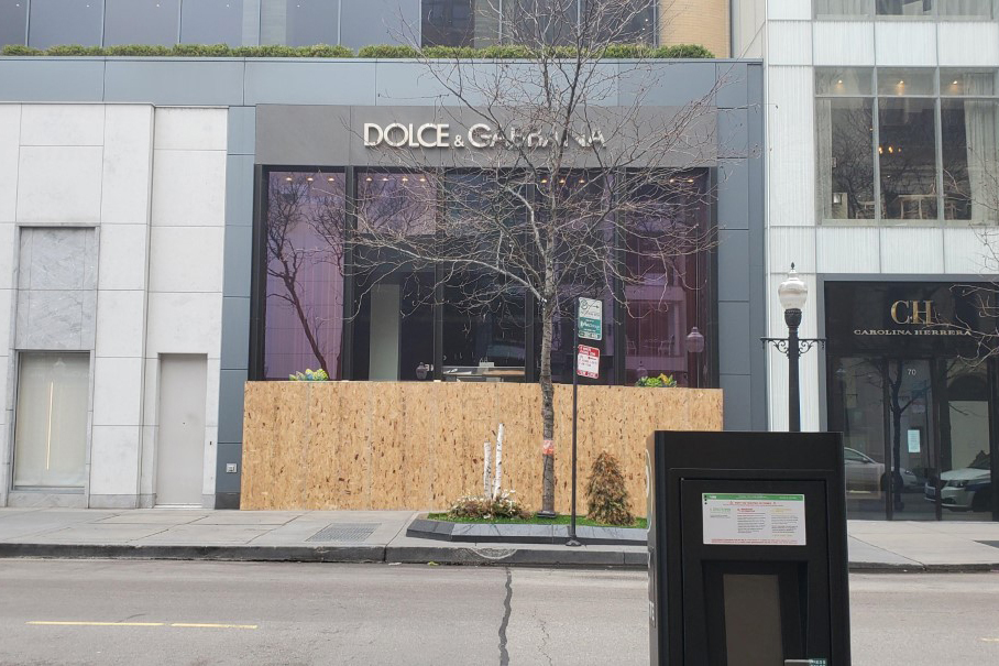 Along Chicago's Magnificent Mile, stores like Tom Ford and Dolce & Gabbana have taken theft prevention precautions.