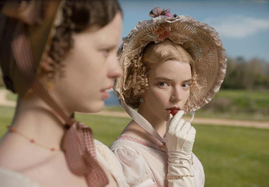"""Mia Goth (left) as """"Harriet Smith"""" and Anya Taylor-Joy (right) as """"Emma Woodhouse"""" in director Autumn de Wilde's EMMA, a Focus Features release. Credit : Focus Features"""