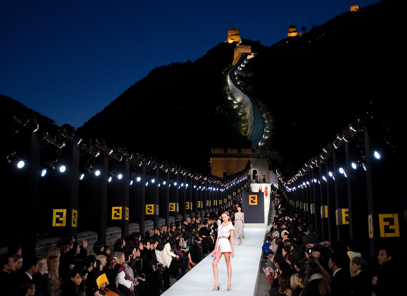Models display the creation of Fendi Spring and Summer 2008 collection at the Great Wall of China transform to a catwalk stage during a fashion show in Beijing, ChinaFendi Fashion Show, Beijing, China - 19 Oct 2007