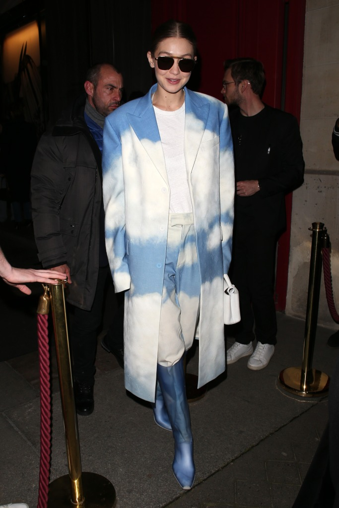 Gigi HadidOff-White show, After Party, Fall Winter 2020, Paris Fashion Week, France - 27 Feb 2020Wearing Louis Vuitton Same Outfit as catwalk model *10528595p