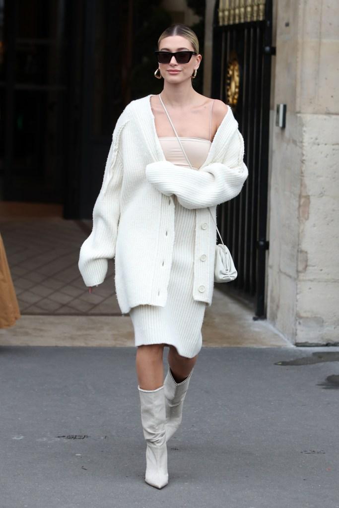 Hailey BieberHailey Bieber out and about, Paris Fashion Week, France - 27 Feb 2020Wearing Bottega Veneta, Shoes By Amina Muaddi