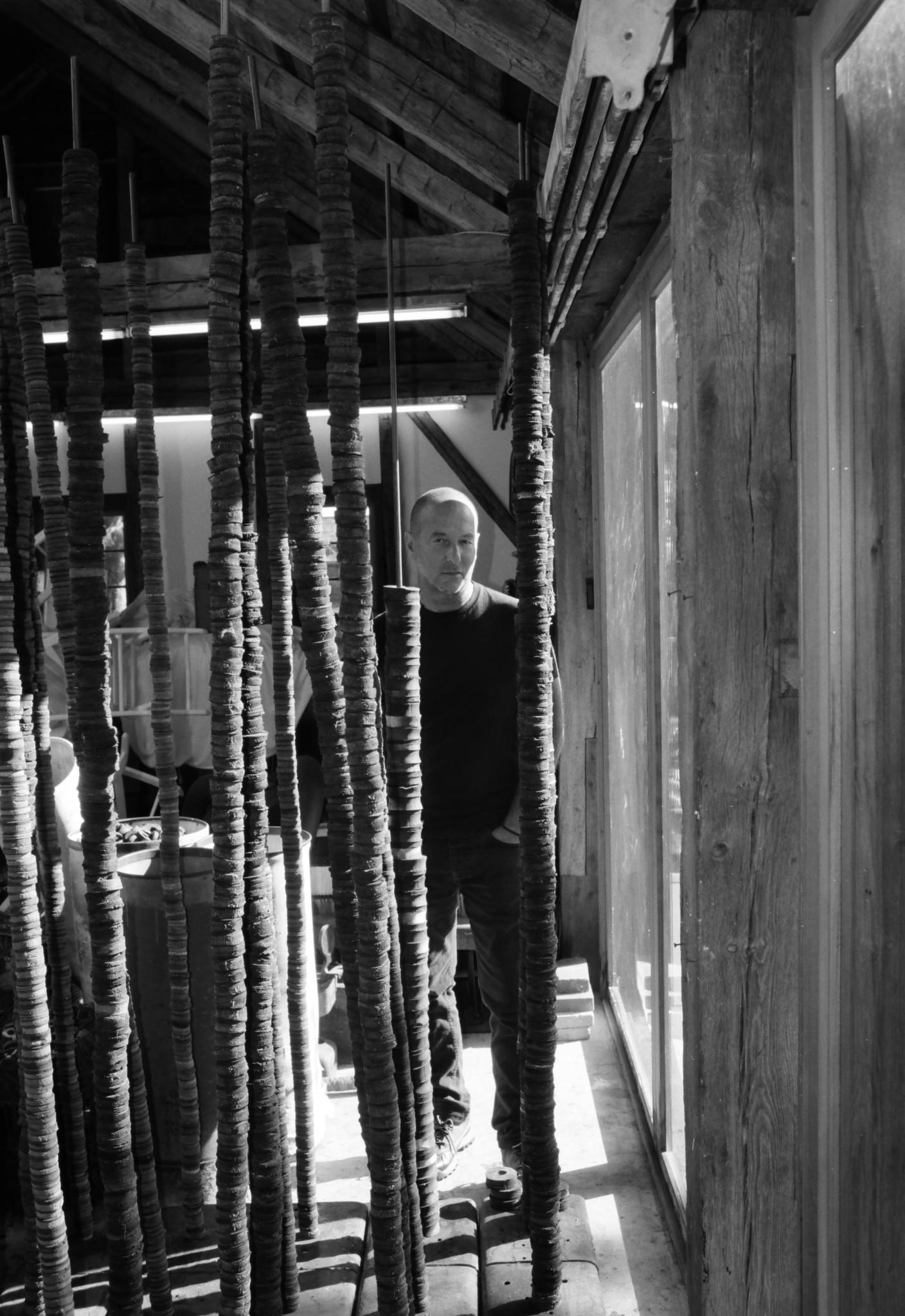 Helmut Lang in his studio in Long Island.