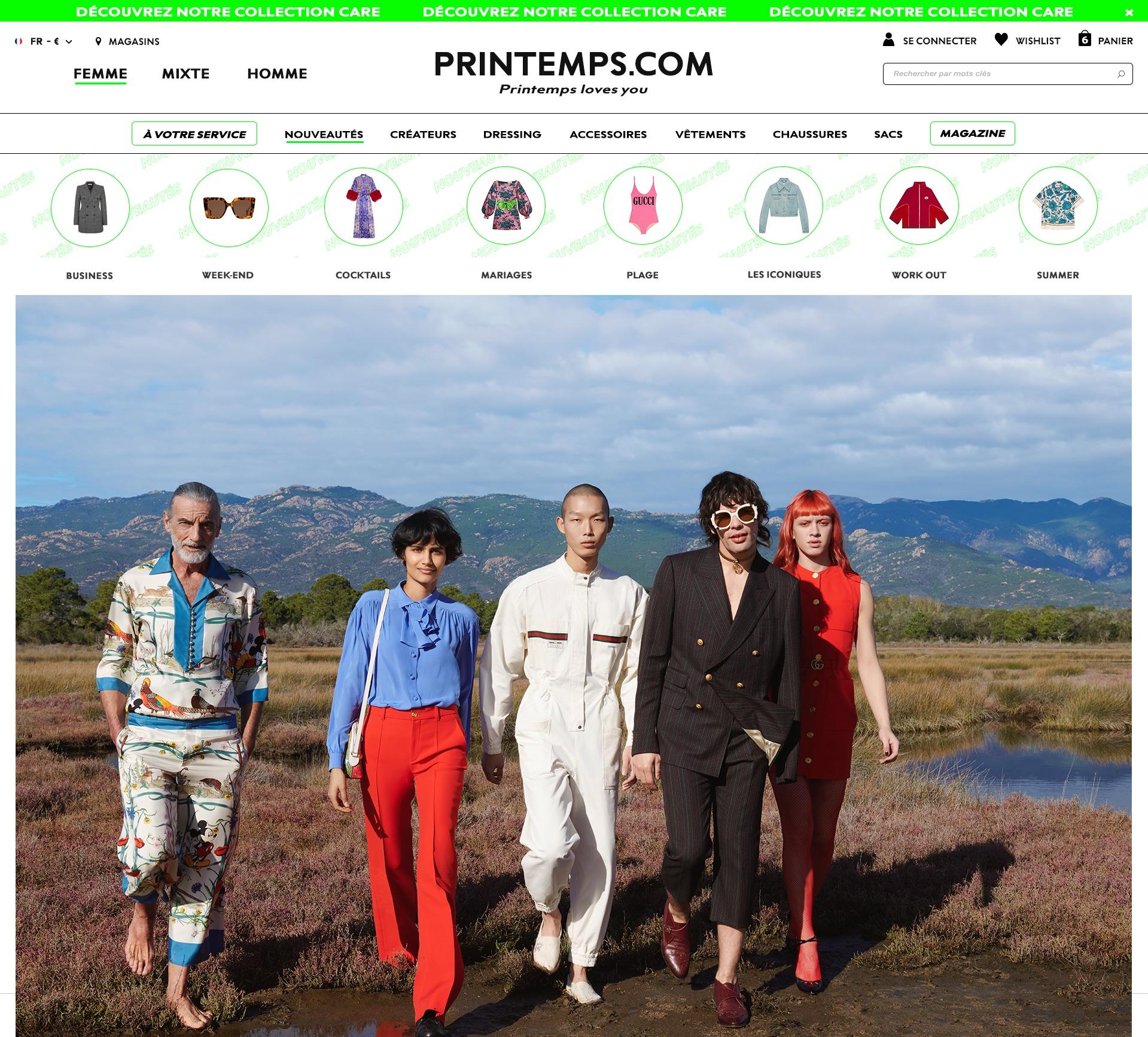 Homepage of Printemps.com