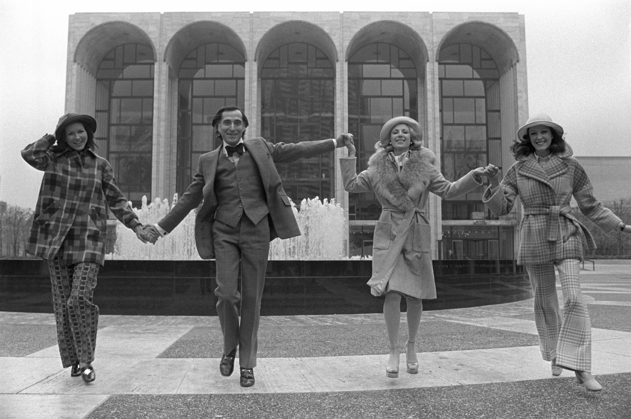 Fashion designer Kasper at Lincoln Center with with models wearing looks from his Fall 1972 collection.