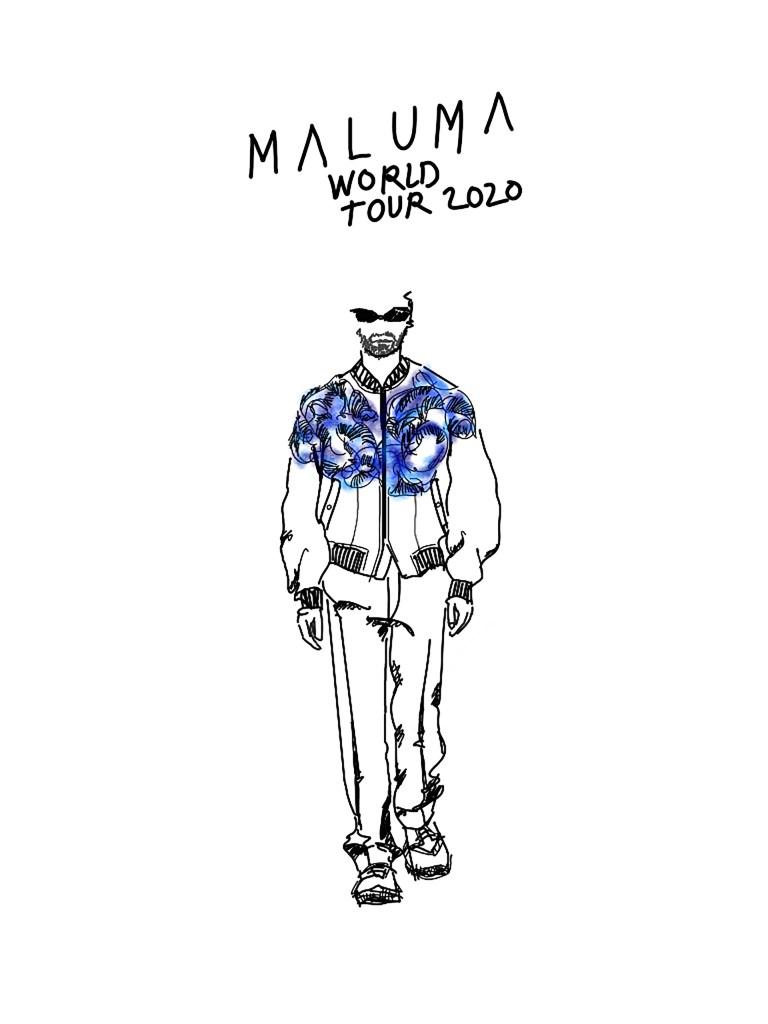 A sktech by Kim Jones for Maluma's tour outfit.