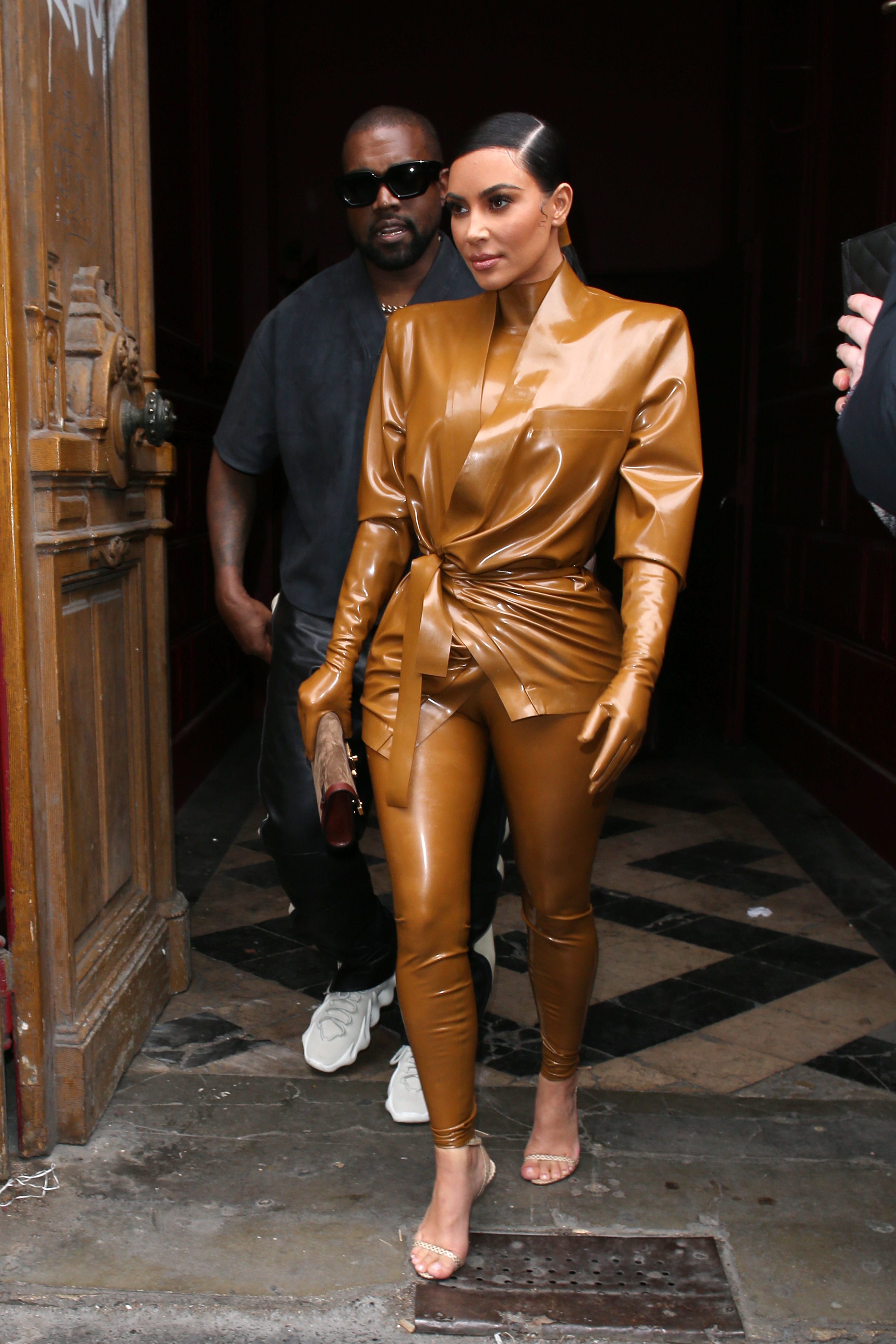 Kanye West and Kim Kardashian West leaving a Sunday serviceKardashians and Kanye West out and about, Paris Fashion Week, France - 01 Mar 2020 Wearing Balmain Same Outfit as catwalk model *10564689cz