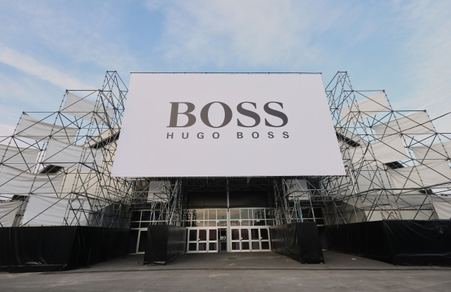 The exterior of German brand, Hugo Boss' Milan show location.