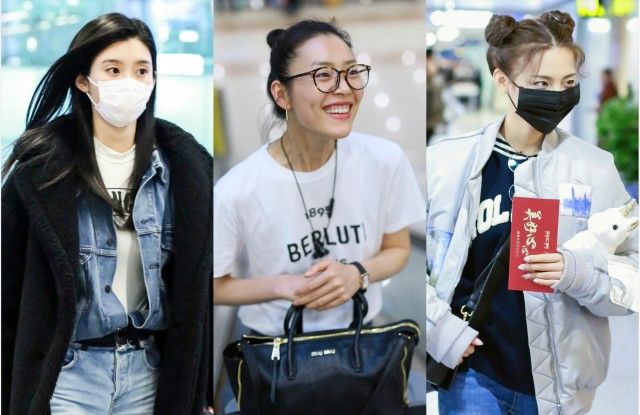 Ming Xi, Liu Wen and Yang Choayue at a Chinese airport.