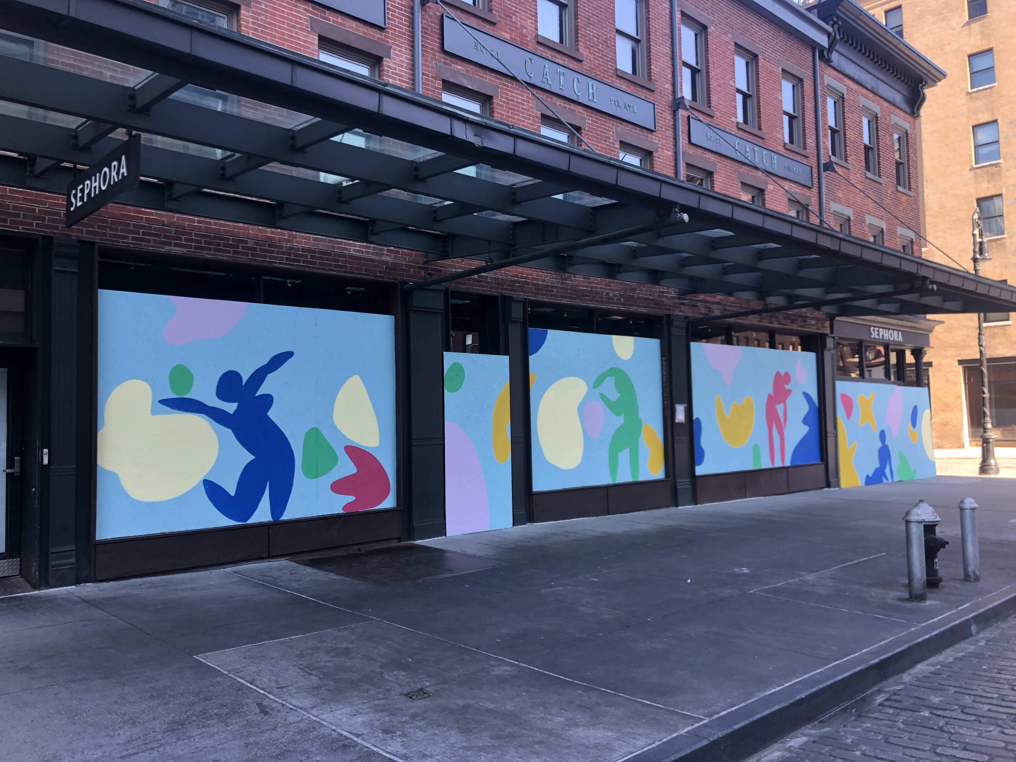 An artist was asked to paint a mural on Sephora's boarded-up Meatpacking District store.