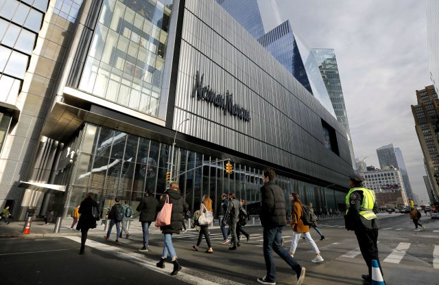 Pedestrians cross Tenth Avenue near Neiman Marcus the retail store before the Hudson Yards Grand Opening Ceremony at Hudson Yards in New York, New York, USA, 15 March 2019. Hudson Yards is a real estate development on Manhattan's westside in the neighborhood of Chelsea, which will feature both residential and commercial space along with retail shopping, fine dining, a ten screen movie theater, a public school, and artist exhibition space.Grand Opening Hudson Yards New York, USA - 15 Mar 2019