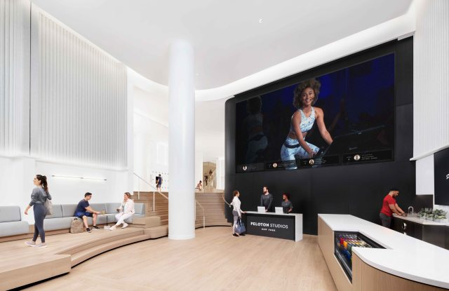 The member lounge at the Peloton New York Studio space.