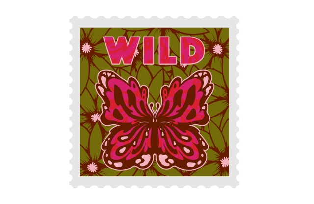 Red Valentino letter stamp designed by artist Ollie St Clair Terry