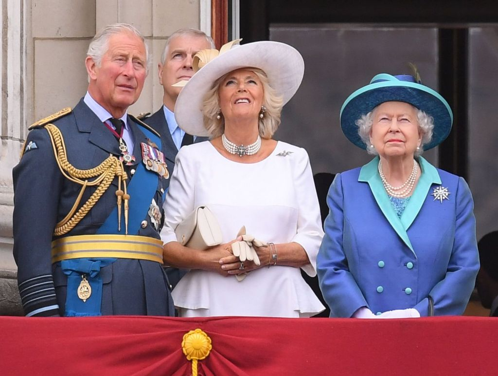 Prince Charles, Camilla Duchess of Cornwall and Queen Elizabeth II on the balcony of Buckingham Palace100th Anniversary of the Royal Air Force, London, UK - 10 Jul 2018