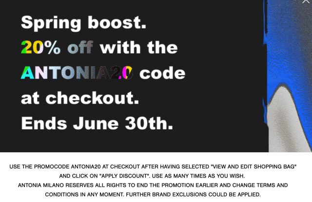 Antonia Introduced 20% reductions on spring/summer collections