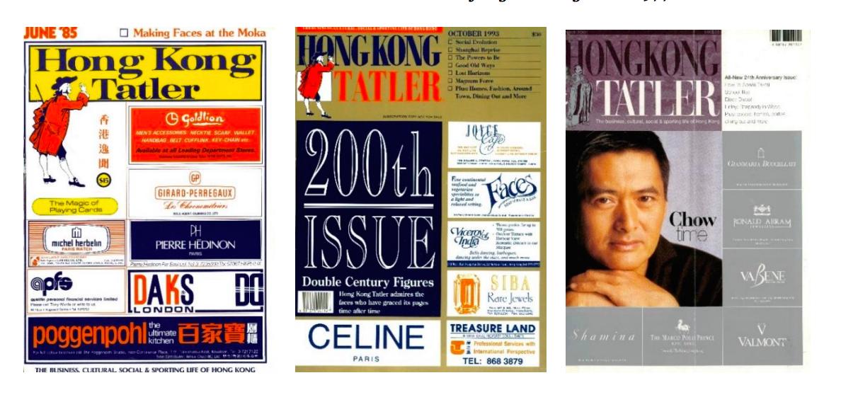 Tatler Hong Kong issues in 1985, 1993, and 2001.