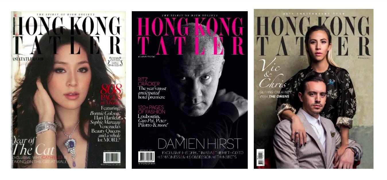 Tatler Hong Kong issues in 2010, 2011, and 2017.