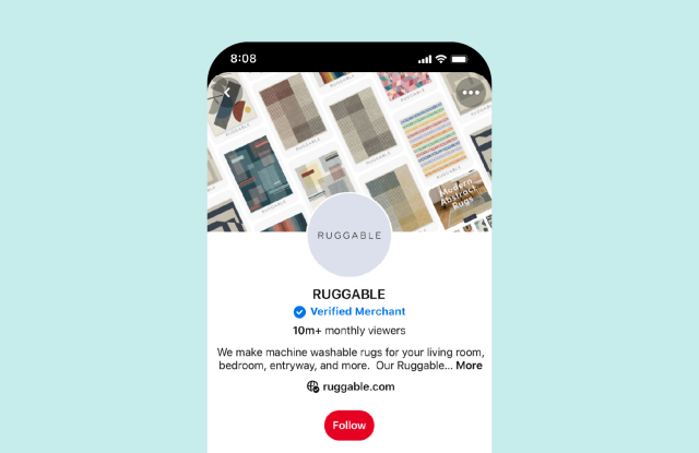 Pinterest's new program places a checkmark on verified merchants' profiles and offers more benefits.