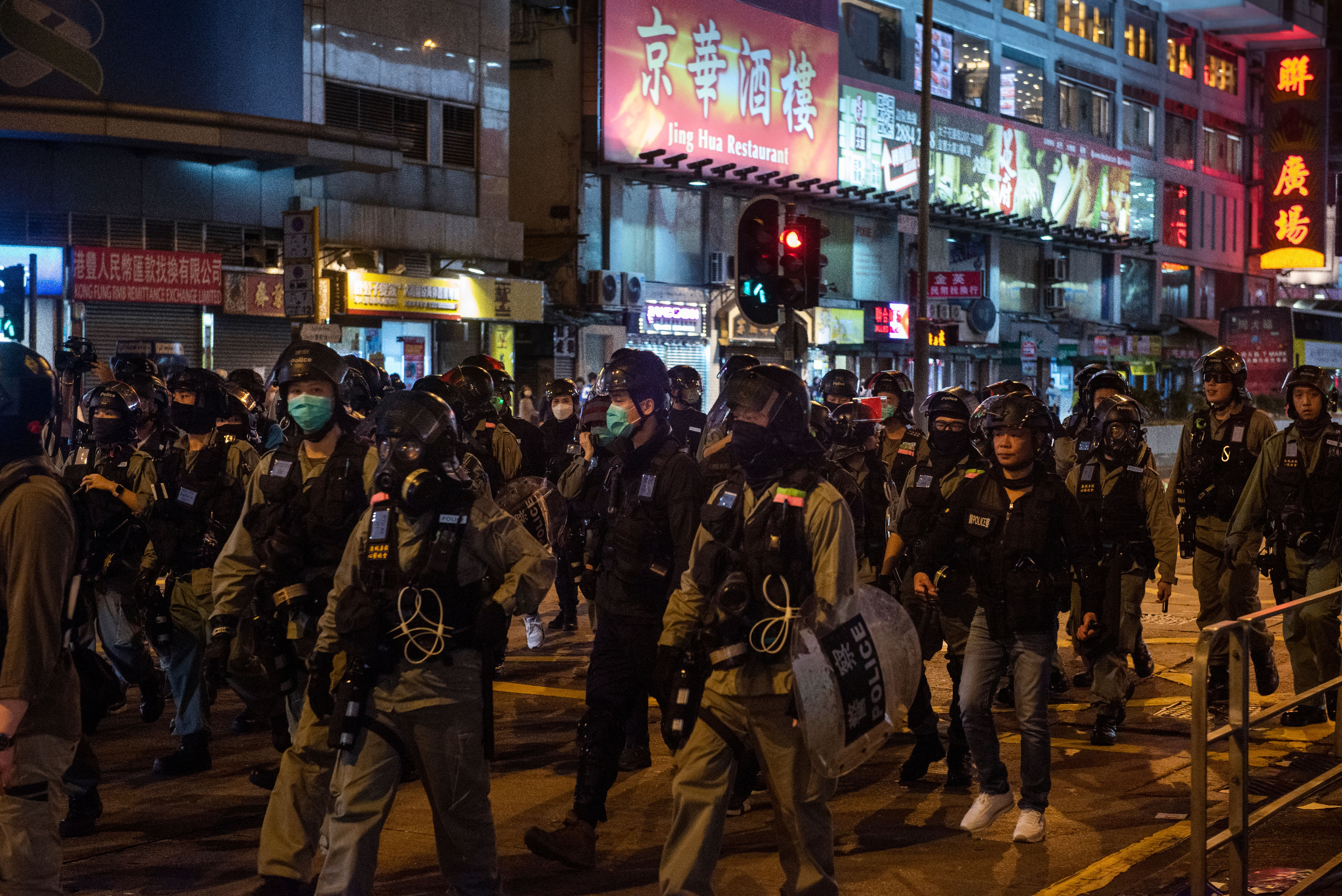 Riot police sent in to disperse protesters over the weekend.