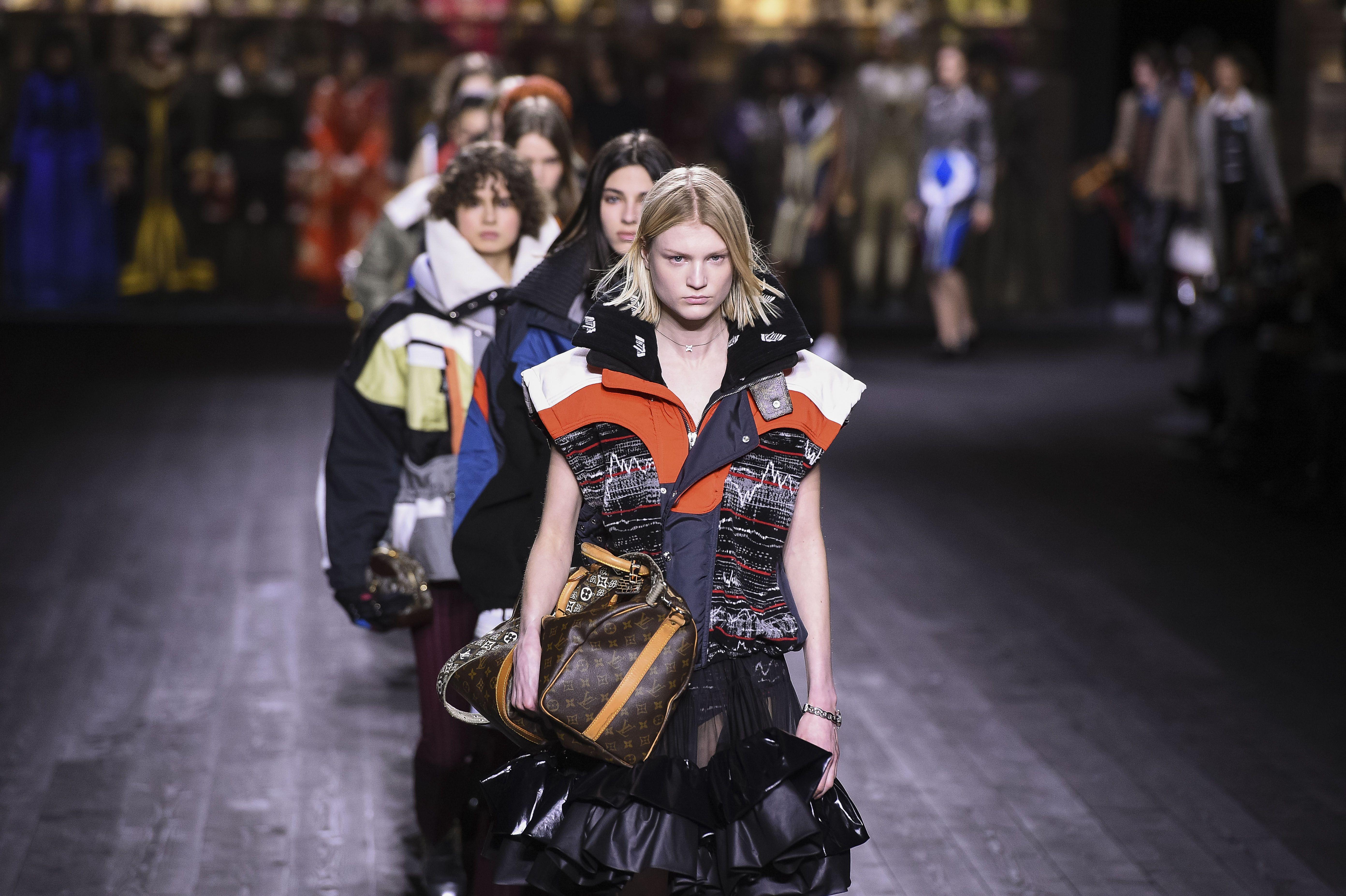 Models on the catwalk Louis Vuitton show.