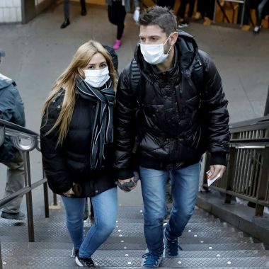 People emerge from the subway wearing protective face masks at Columbus Circle in New York, New York, USA, 04 March 2020. The city recently announced new cases of the coronavirus, including a patient who is a healthcare worker who had recently travelled to Iran.Coronavirus in New York, USA - 04 Mar 2020
