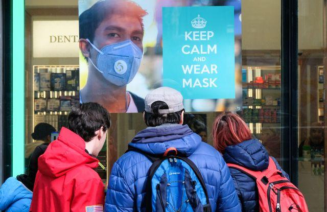 Pharmacy on Oxford Street selling face masks.Coronavirus outbreak, London, UK. - 6 Mar 2020