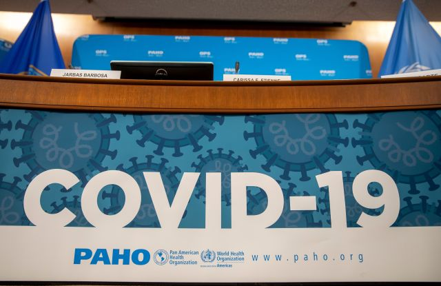 A sign on display before officials with the Pan American Health Organization (PAHO), give an update on the group's response in Latin America to the coronavirus COVID-19 outbreak, at their headquarters in Washington, DC, USA, 06 March 2020. The PAHO is a regional office of the Americas for the World Health Organization.Pan American Health Organization updates on coronavirus COVID-19 outbreak, Washington, USA - 06 Mar 2020