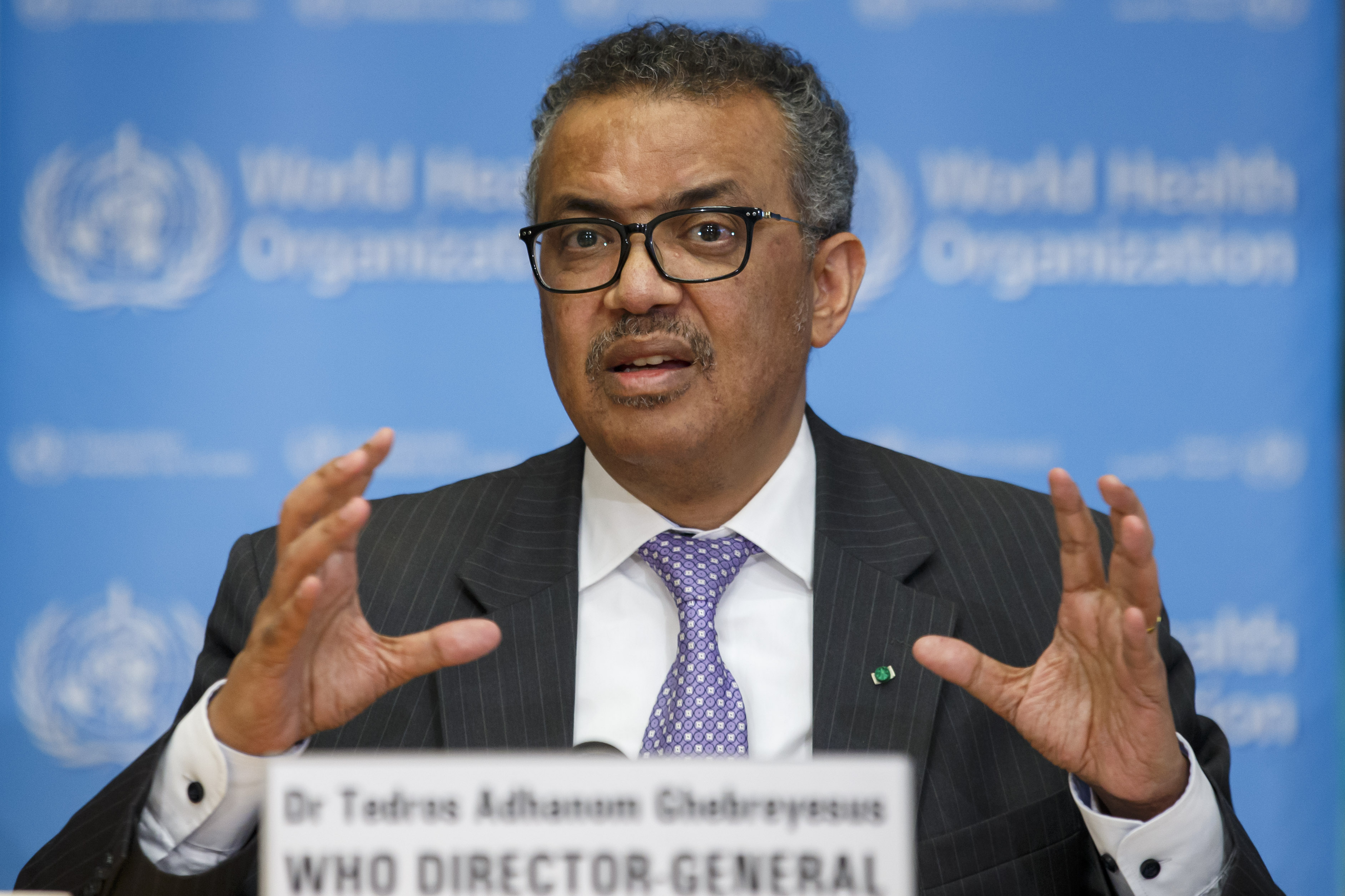 Tedros Adhanom Ghebreyesus, director general of the World Health Organization, informs the media about updates regarding the novel coronavirus during a new press conference at WHO headquarters in Geneva, Switzerland, March 9, 2020. World Health Organization (WHO) press conference on coronavirus,m COVID-19, Geneva, Switzerland - 09 Mar 2020